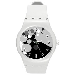 Gray decorative dots Round Plastic Sport Watch (M)