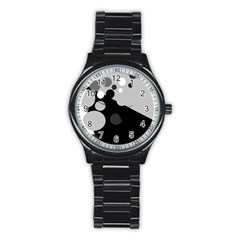 Gray decorative dots Stainless Steel Round Watch