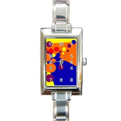 Blue and orange dots Rectangle Italian Charm Watch