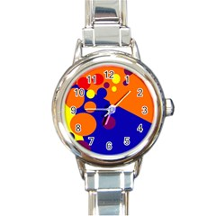 Blue and orange dots Round Italian Charm Watch