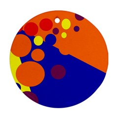 Blue and orange dots Ornament (Round)