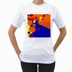 Blue and orange dots Women s T-Shirt (White) (Two Sided)