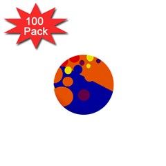 Blue and orange dots 1  Mini Buttons (100 pack)