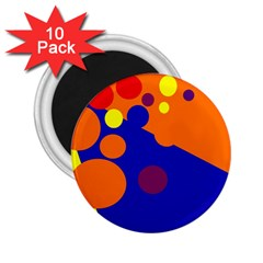 Blue and orange dots 2.25  Magnets (10 pack)