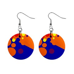 Blue and orange dots Mini Button Earrings