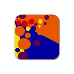 Blue and orange dots Rubber Square Coaster (4 pack)