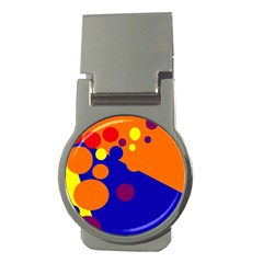 Blue and orange dots Money Clips (Round)
