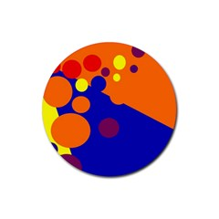 Blue and orange dots Rubber Round Coaster (4 pack)