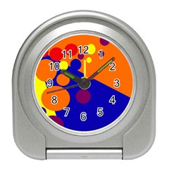 Blue and orange dots Travel Alarm Clocks