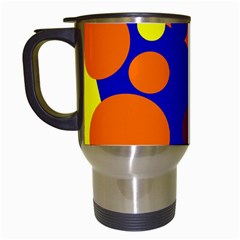 Blue and orange dots Travel Mugs (White)