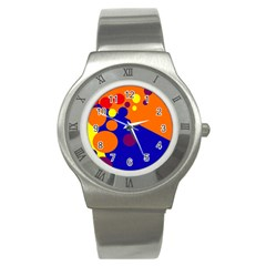 Blue and orange dots Stainless Steel Watch