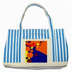 Blue and orange dots Striped Blue Tote Bag