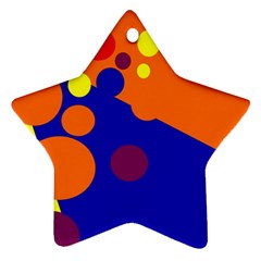 Blue and orange dots Star Ornament (Two Sides)