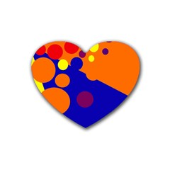 Blue and orange dots Heart Coaster (4 pack)