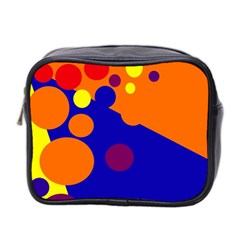 Blue and orange dots Mini Toiletries Bag 2-Side