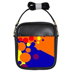 Blue and orange dots Girls Sling Bags