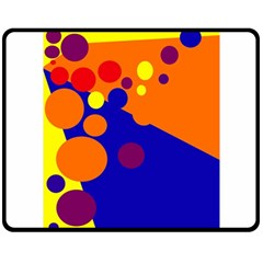 Blue and orange dots Fleece Blanket (Medium)