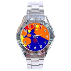 Blue and orange dots Stainless Steel Analogue Watch