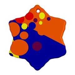Blue and orange dots Snowflake Ornament (2-Side)