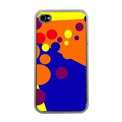 Blue and orange dots Apple iPhone 4 Case (Clear)