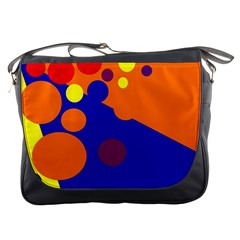 Blue and orange dots Messenger Bags
