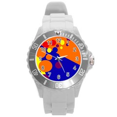 Blue and orange dots Round Plastic Sport Watch (L)