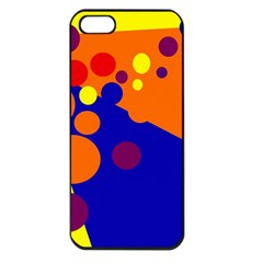 Blue and orange dots Apple iPhone 5 Seamless Case (Black)