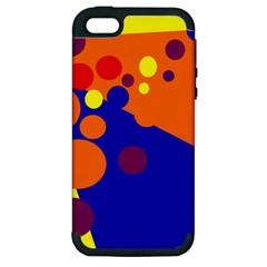 Blue and orange dots Apple iPhone 5 Hardshell Case (PC+Silicone)