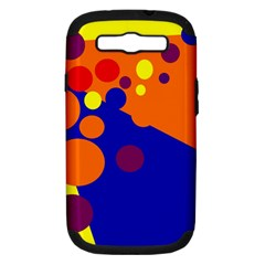 Blue and orange dots Samsung Galaxy S III Hardshell Case (PC+Silicone)