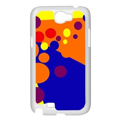 Blue and orange dots Samsung Galaxy Note 2 Case (White)