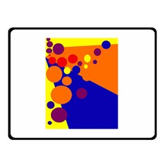 Blue and orange dots Double Sided Fleece Blanket (Small)