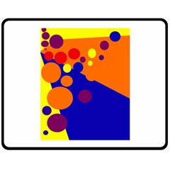 Blue and orange dots Double Sided Fleece Blanket (Medium)