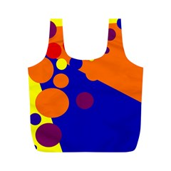 Blue and orange dots Full Print Recycle Bags (M)