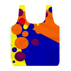 Blue and orange dots Full Print Recycle Bags (L)