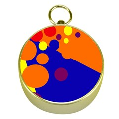 Blue and orange dots Gold Compasses