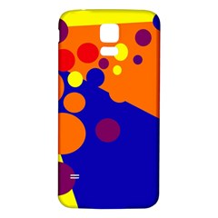 Blue and orange dots Samsung Galaxy S5 Back Case (White)