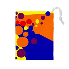 Blue and orange dots Drawstring Pouches (Large)