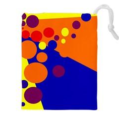 Blue and orange dots Drawstring Pouches (XXL)