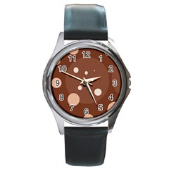 Brown abstract design Round Metal Watch