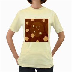 Brown abstract design Women s Yellow T-Shirt