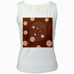 Brown abstract design Women s White Tank Top