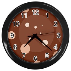 Brown abstract design Wall Clocks (Black)