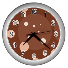Brown abstract design Wall Clocks (Silver)