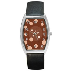 Brown abstract design Barrel Style Metal Watch