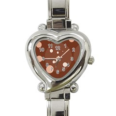 Brown abstract design Heart Italian Charm Watch
