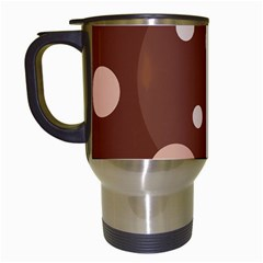 Brown abstract design Travel Mugs (White)