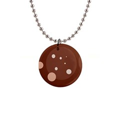Brown abstract design Button Necklaces