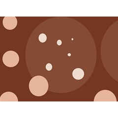 Brown abstract design Birthday Cake 3D Greeting Card (7x5)