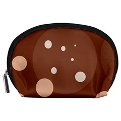 Brown abstract design Accessory Pouches (Large)
