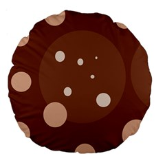 Brown abstract design Large 18  Premium Flano Round Cushions